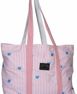 Stripe Whales Tote Bag
