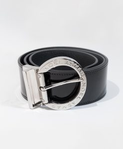 Noel Asmar Ladies' Chocolate W/Midnight Navy Signature Leather Belt (Gold Accents)